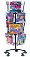 Wire Rotary Magazine Display Rack 16 Pockets
