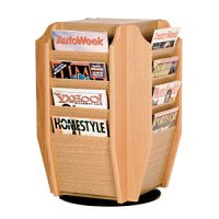 Table Top Magazine 16 Pocket Wooden Mallet Display. PD149-3375