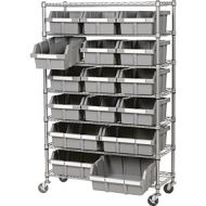7 Tier Mobile Shelving 16 Bins