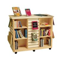 Mobile Slatwall Large Book Display Shelf