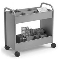Economical Book Trolley with 12 Compartment Shelf. 15PMT323-12C