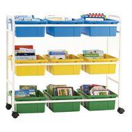 Mobile Storage & Browsing Cart 9 Tubs
