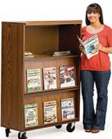 Mobile Magazine Display Rack with Cabinet